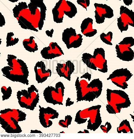Leopard Pattern. Seamless Vector Print. Abstract Repeating Pattern - Heart Leopard Skin Imitation Ca
