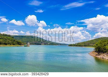 Landscape Of Lake Sky With Wind Turbine And Hightway At Lam Takhong Dam, Nakhon Ratchasima Province,