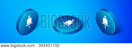 Isometric Ringing Alarm Bell Icon Isolated On Blue Background. Fire Alarm System. Service Bell, Hand
