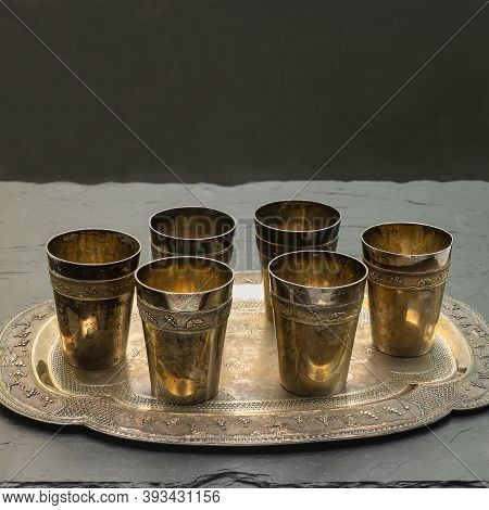 Set Of Old Silver Items. Six Small Glasses On A Shaped Tray. Decoration - Asian-themed Ornaments. Co