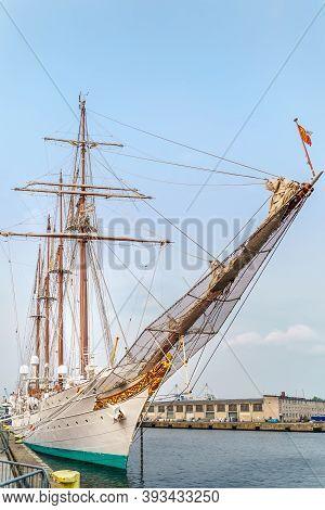Szczecin, Poland, June 2019 Ship Bow Of Famous Tall Ship Juan Sebastian De Elcano, A Training Ship O
