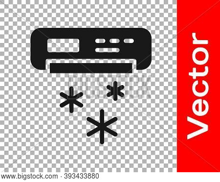 Black Air Conditioner Icon Isolated On Transparent Background. Split System Air Conditioning. Cool A