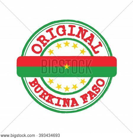 Vector Stamp Of Original Logo With Text Burkina Faso And Tying In The Middle With Nation Flag. Grung