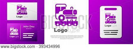 Logotype Vintage Locomotive Icon Isolated On White Background. Steam Locomotive. Logo Design Templat