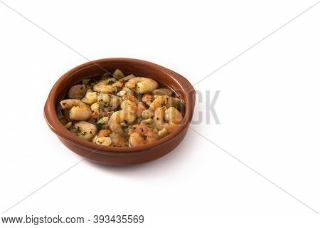 Garlic Prawns In Crock Pot Isolated On White Background.copy Space