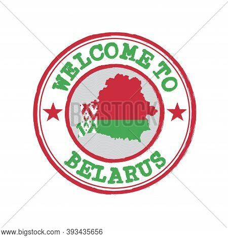 Vector Stamp Of Welcome To Belarus With Map Outline Of The Nation In Center. Grunge Rubber Texture S