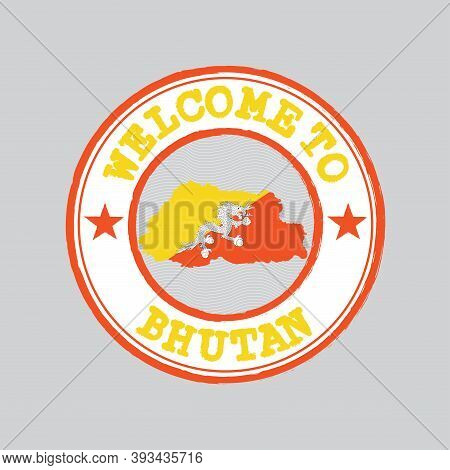Vector Stamp Of Welcome To Bhutan With Map Outline Of The Nation In Center. Grunge Rubber Texture St