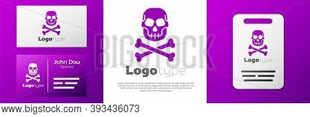 Logotype Skull On Crossbones Icon Isolated On White Background. Happy Halloween Party. Logo Design T