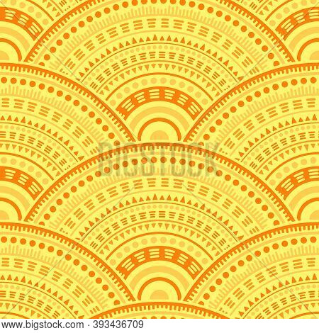 Gypsy Circle Elements Tile Design Vector Seamless Pattern. Tribal Motifs Geo Repeating Illustration.