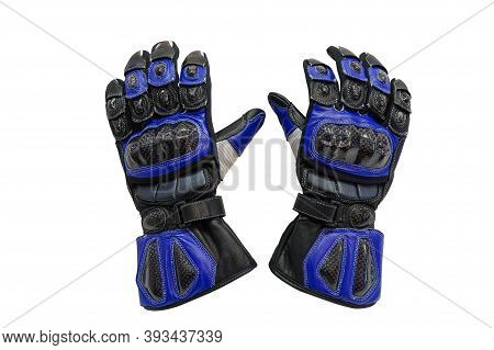 Blue Leather Motorcycle Gloves Isolated On White Background