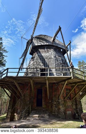 An Old Wooden Mill In The Latvian Ethnographic Museum