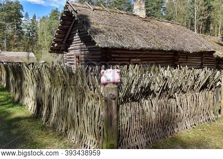 Latvia, Riga, 01,05,2016 An Old Wooden House In The Latvian Ethnographic Museum