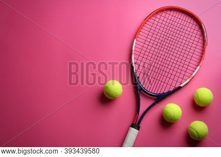 Tennis Racket And Balls On Pink Background, Flat Lay. Space For Text