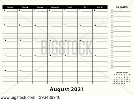 August 2021 Monthly Business Desk Pad Calendar. August 2021 Calendar Planner With To-do List And Pla