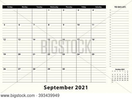 September 2021 Monthly Business Desk Pad Calendar. September 2021 Calendar Planner With To-do List A