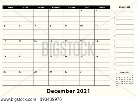 December 2021 Monthly Business Desk Pad Calendar. December 2021 Calendar Planner With To-do List And