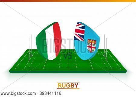 Rugby Team Italy Vs Fiji On Rugby Field. Vector Template.
