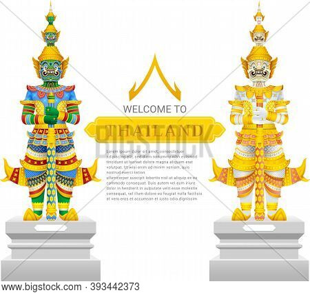 Guardian Giant Thailand Travel And Art Background Vector Illustration