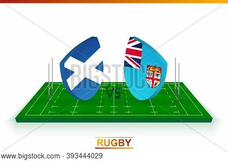 Rugby Team Scotland Vs Fiji On Rugby Field. Vector Template.