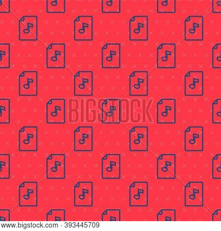 Blue Line Music Book With Note Icon Isolated Seamless Pattern On Red Background. Music Sheet With No