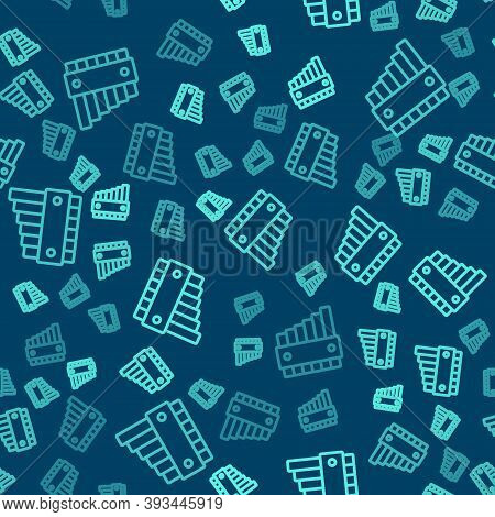 Green Line Pan Flute Icon Isolated Seamless Pattern On Blue Background. Traditional Peruvian Musical