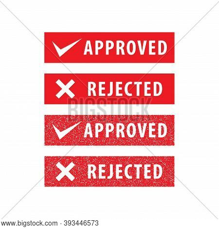Set Of Approved And Rejected Stamp Vector Illustration Isolated On White Background. Sign, Label, Re