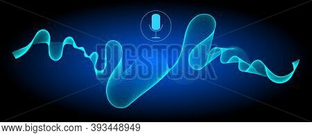 Voice Recognition With A Microphone And Glossy Blue Soundwaves - Illustration