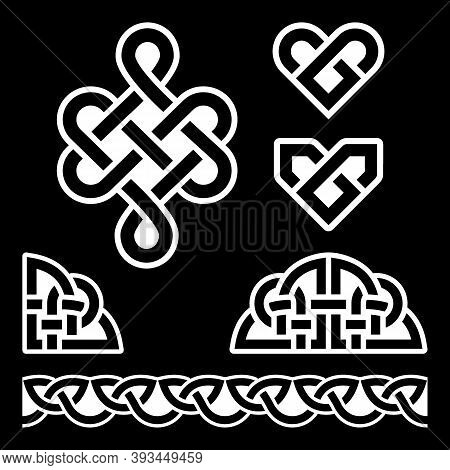 Irish Celtic Braids And Knots Vector Pattern Set, Celtic Hearts Traditional Design Elements Collecti