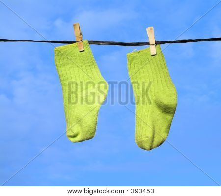 Green Stockings Blue Sky