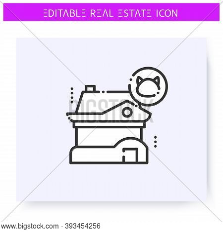 Pets Friendly Rental House Line Icon. Rental For Living With A Pet. Real Estate Agency, Housing Busi