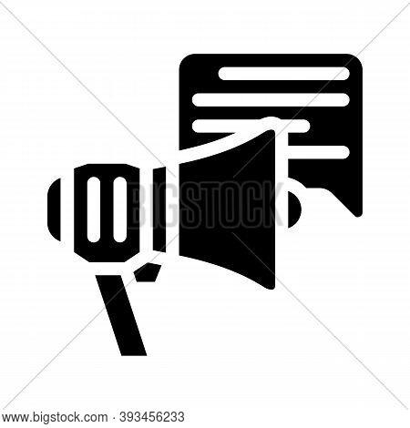 Advert Loudspeaker Glyph Icon Vector Illustration Sign