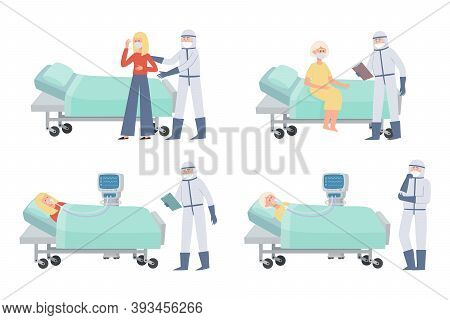 Vector Set Of Women Patients And Doctors In Prevention Clothes