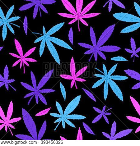 Vector Seamless Pattern With Neon Cannabis Leaves