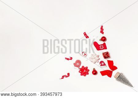 Christmas Gift. Stocking, Gifts, Winter Tree, Ribbon And Bow In Christmas Composition On White Backg