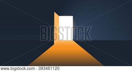 Dark Room, Light Coming In Through An Open Door - New Possibilities, Hope, Overcome Problems, Soluti