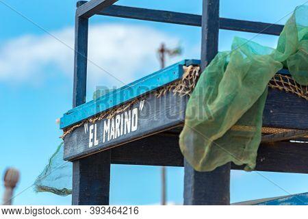 Isla Lobos, Fuerteventura, Spain: 2020 October 3: Signal Of El Marino In The Isla Lobos Pier In Fuer