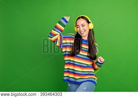 Portrait Of Attractive Cheerful Dreamy Girl Enjoying Listening Melody Dancing Having Fun Isolated Ov