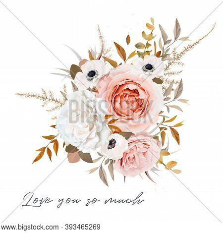 Stylish Vector Floral Bouquet Design. Blush Peach, Pale Pink Rose, Ivory White Anemone Flower, Taupe