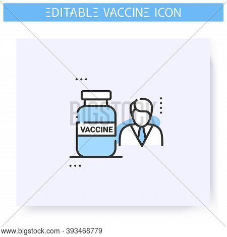 Vaccine Expert Line Icon. Virologist Researcher.chemical Scientist. Cure Search, Vaccine Development