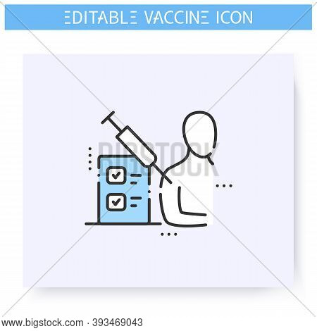 Vaccine Test Line Icon.clinical Trial.vaccine Testing Volunteer.cure Search, Vaccine Development.sto