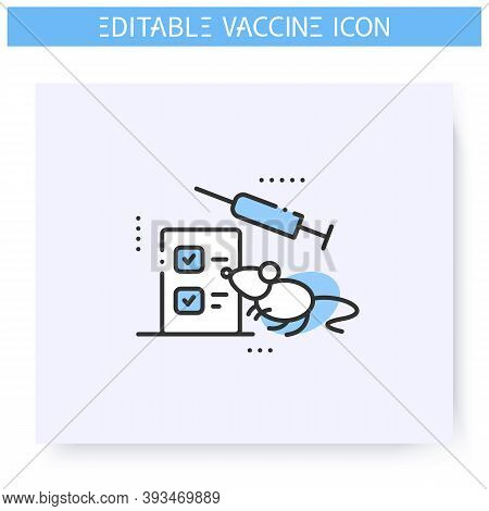 Animal Testing Line Icon. Preclinical Vaccine Studies. Syringe And Rat. Cure Search, Vaccine Develop