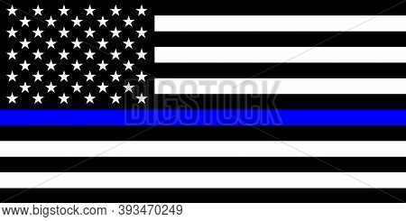 A Black, White And Blue Stars And Stripes Usa American Flag In Memorial Of Police Officers That Have