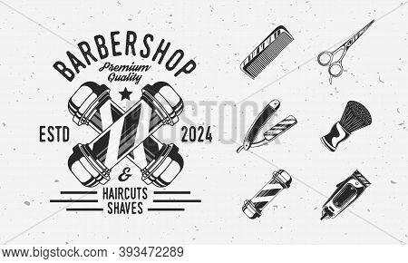 Barbershop Vintage Hipster Logo With Barbershop Equipments. Barber Pole, Razor Blade, Hair Clipper,
