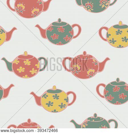 Vector Seamless Pattern Of Colorful Teapots. Crockery Illustration Design.