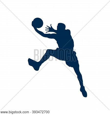 Player In Basketball At The Background Of Basketball Rings (vector) New