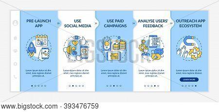 App Marketing Tips Onboarding Vector Template. Pre Release Launch App. Using Social Media. Responsiv