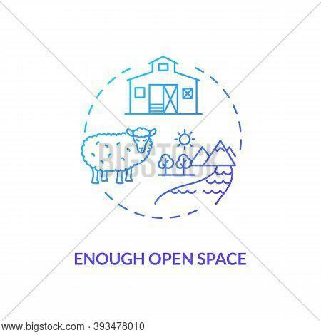 Enough Open Space Blue Gradient Concept Icon. Farm Livestock Care. Sheep Health. Lamb On Farmland. R