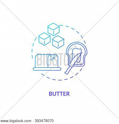 Butter Blue Gradient Concept Icon. Fatty, Milky Product. Spread On Toast. Nutritious Foodstuff. Groc