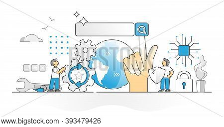 Search Engine As Web Information Find Results Tool Monocolor Outline Concept. Online Data Content Se