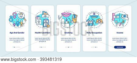 Insurance Cost Factors Onboarding Mobile App Page Screen With Concepts. Age And Gender Types Walkthr